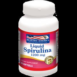 LIQUID SPIRULINA ALGAE 1200 mg x 90 cápsulas , Healthy America espirulina